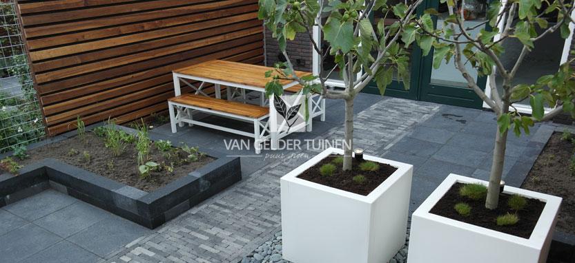 Moderne tuin met maatwerk schutting van hardhout