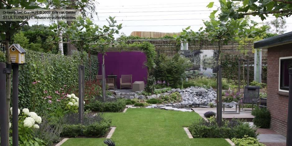 Tuinontwerp groene natuurlijke tuin