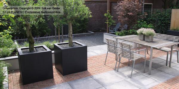 Tuin met gebakken klinkers in combinatie met betontegels schellevis