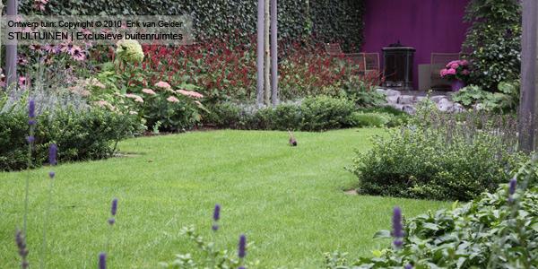 Tuinontwerp natuurlijke tuin met strakke vlakverdeling