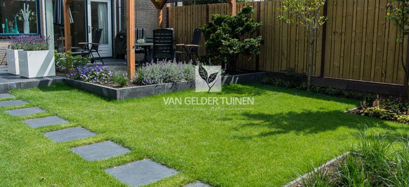 Moderne tuin met gazon en staptegels