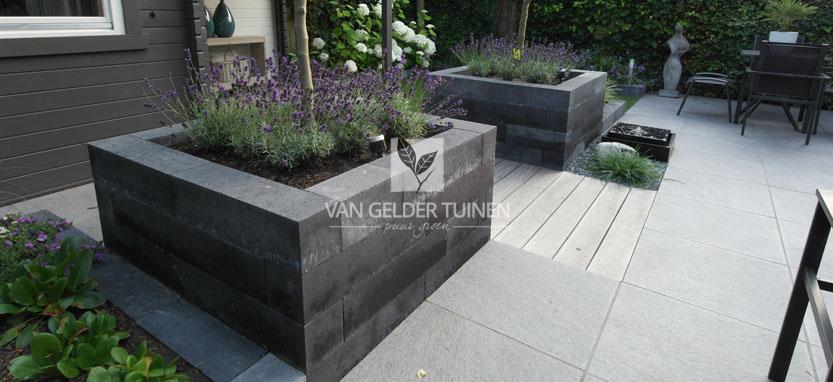 Moderne tuin met stenenbloembakken met lavendel