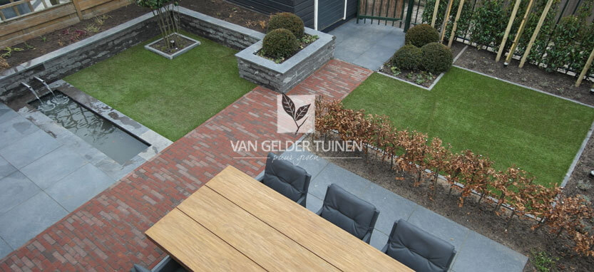 Aanleg van een moderne tuin met kunstgras