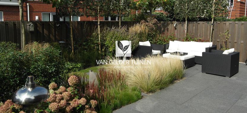 Moderne strakke groene tuinen