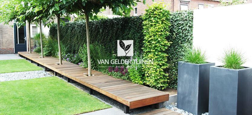 Moderne tuin met zwevend vlonder - Onderhoudsvrije groene tuin